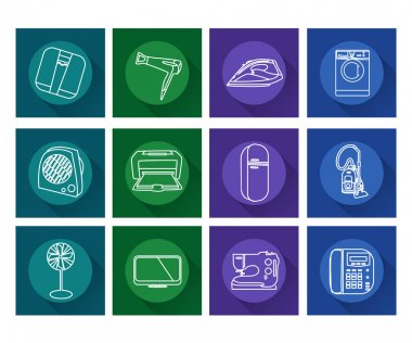 Home appliances icons.Flat vector