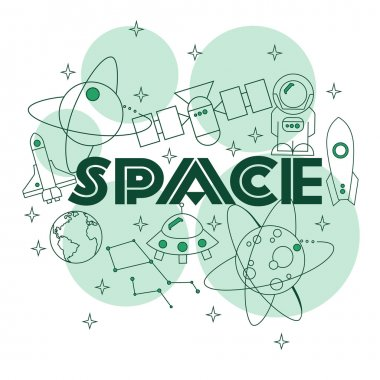 Space.Illustration with typographic for t-shirt