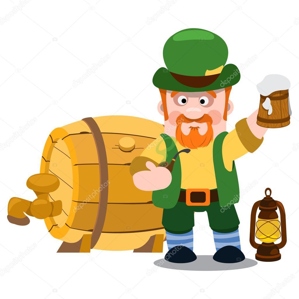 Hombre en el pub irlandés. St Patrick con una taza de cerveza ...