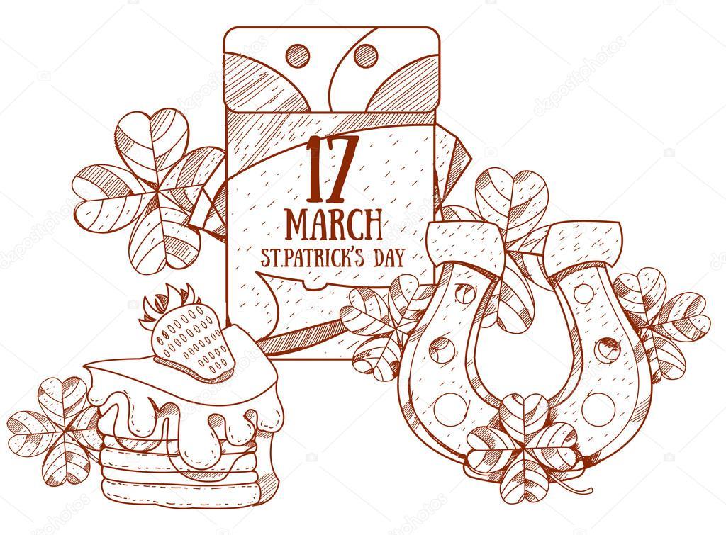 17 de marzo del calendario. Día de San Patricio. Herradura de oro y ...
