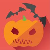 Fotografie Jack Pumpkin and bats icon, Halloween. Modern colored icons in a flat design with long shadow.
