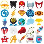 Vector set of various superheroes and superman icons.
