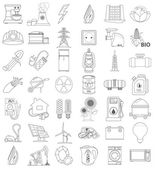 Outline icons of energetics, contour icon, line icon