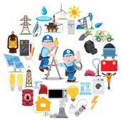 Fotografie Kolo složení s elektrikáři, průmysl, energetika, elektřina