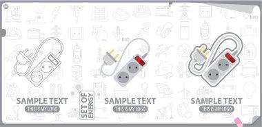 Electrical plug and socket logo, energy, energetics