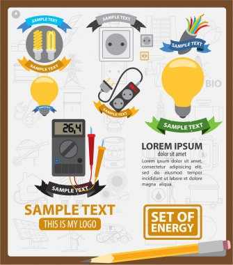 Energy logos, energy infographics, energetics symbols, logos with ribbon
