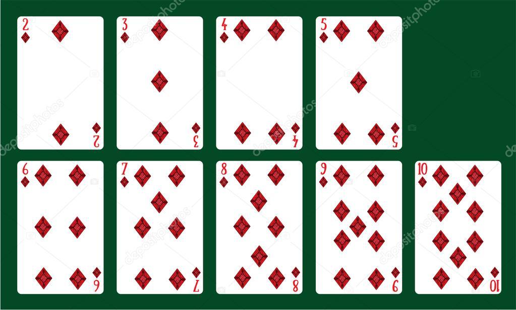 Juegos de jugar a las cartas de diamantes de 20 a 10. Una baraja de ...