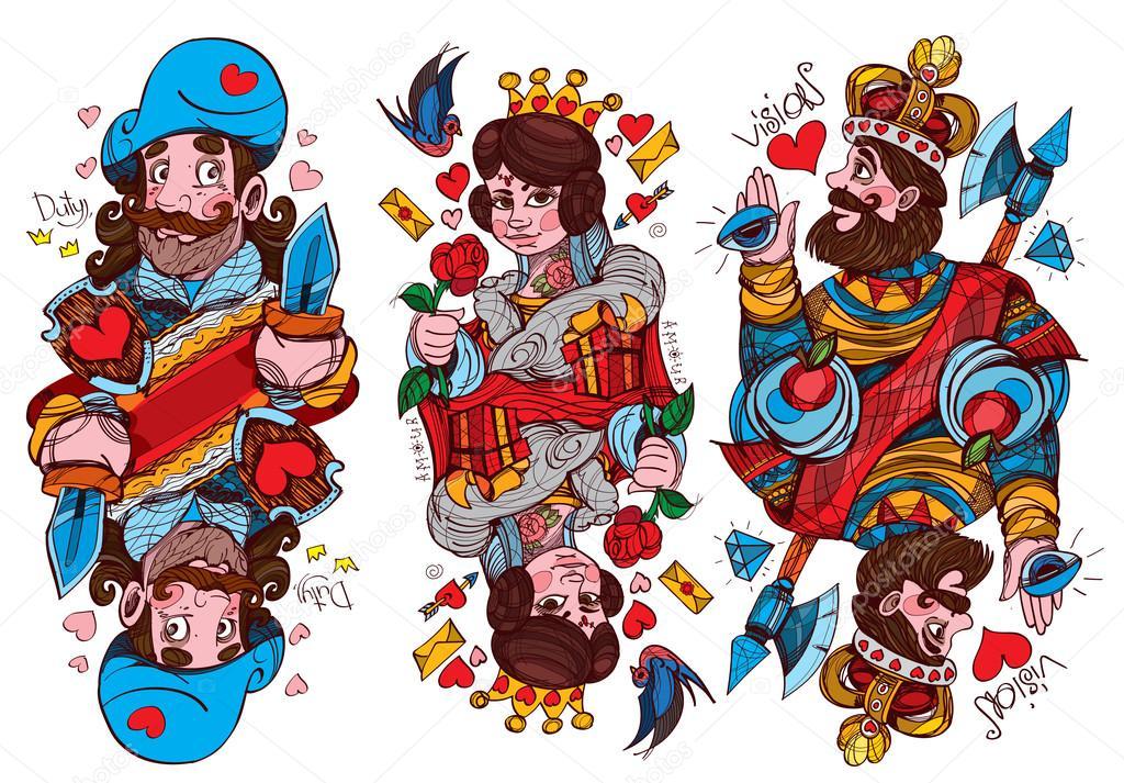 E Card Cartoon Characters : Caractères de la figure costume roi reine et valet