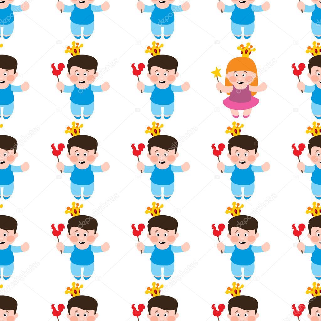 Poco de niño y niña de patrones sin fisuras, princesa y Príncipe ...