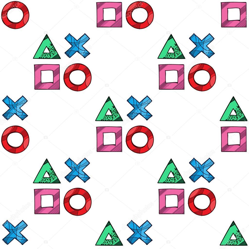 Cross Circle Square Triangle Game Pad Symbols Seamless Pattern