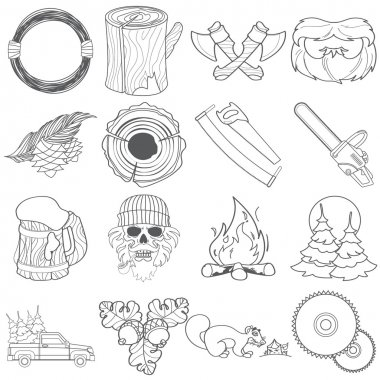 Forestry set of icons and logos contour drawing.