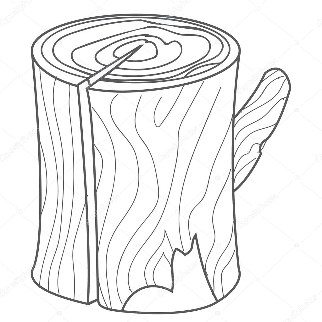 Wooden stump wood log in cartoon style outline drawing