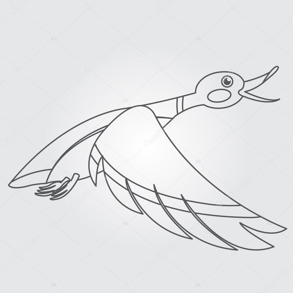 Dibujo de patos silvestres volando icono — Archivo Imágenes ...