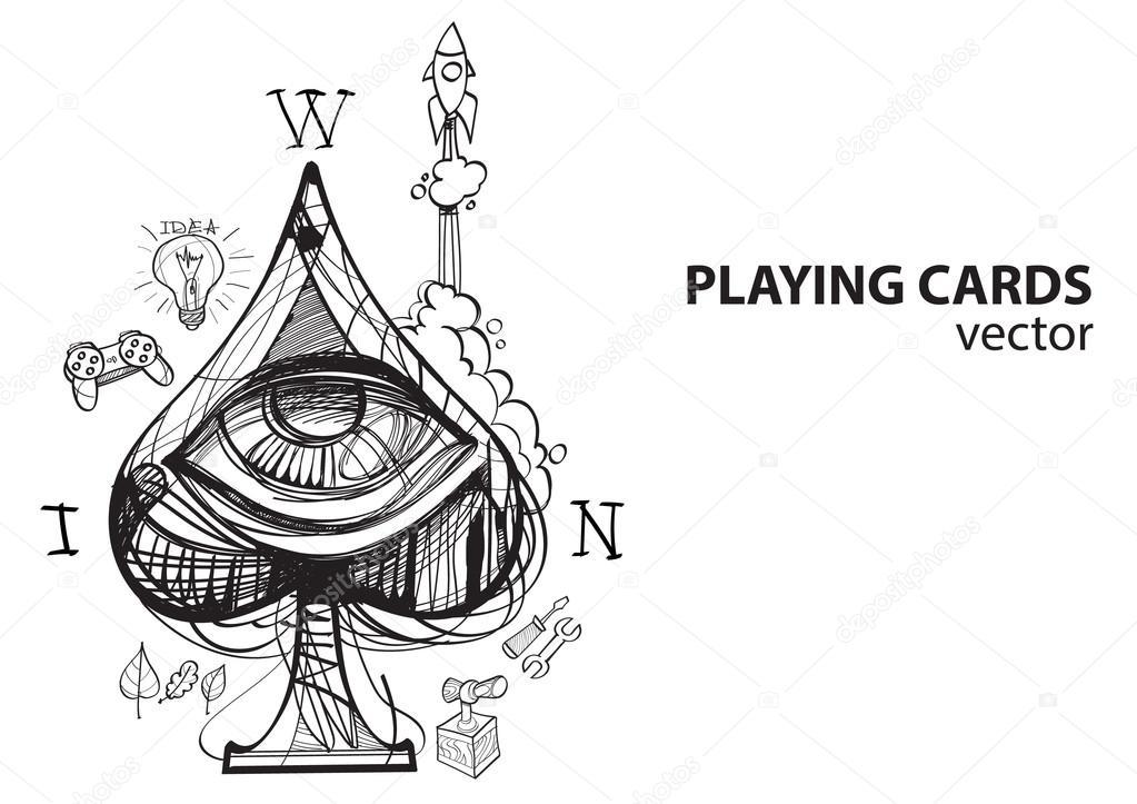 Populaire de pique jeu de cartes costume. Esquisse de dessin — Image  ST16
