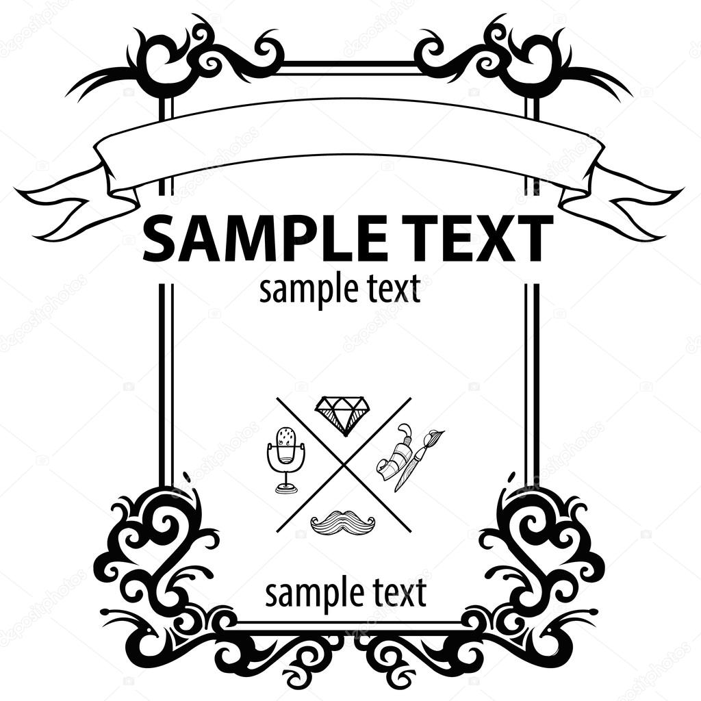 Rectangular frame with curls Frame tattoo design Stock Vector