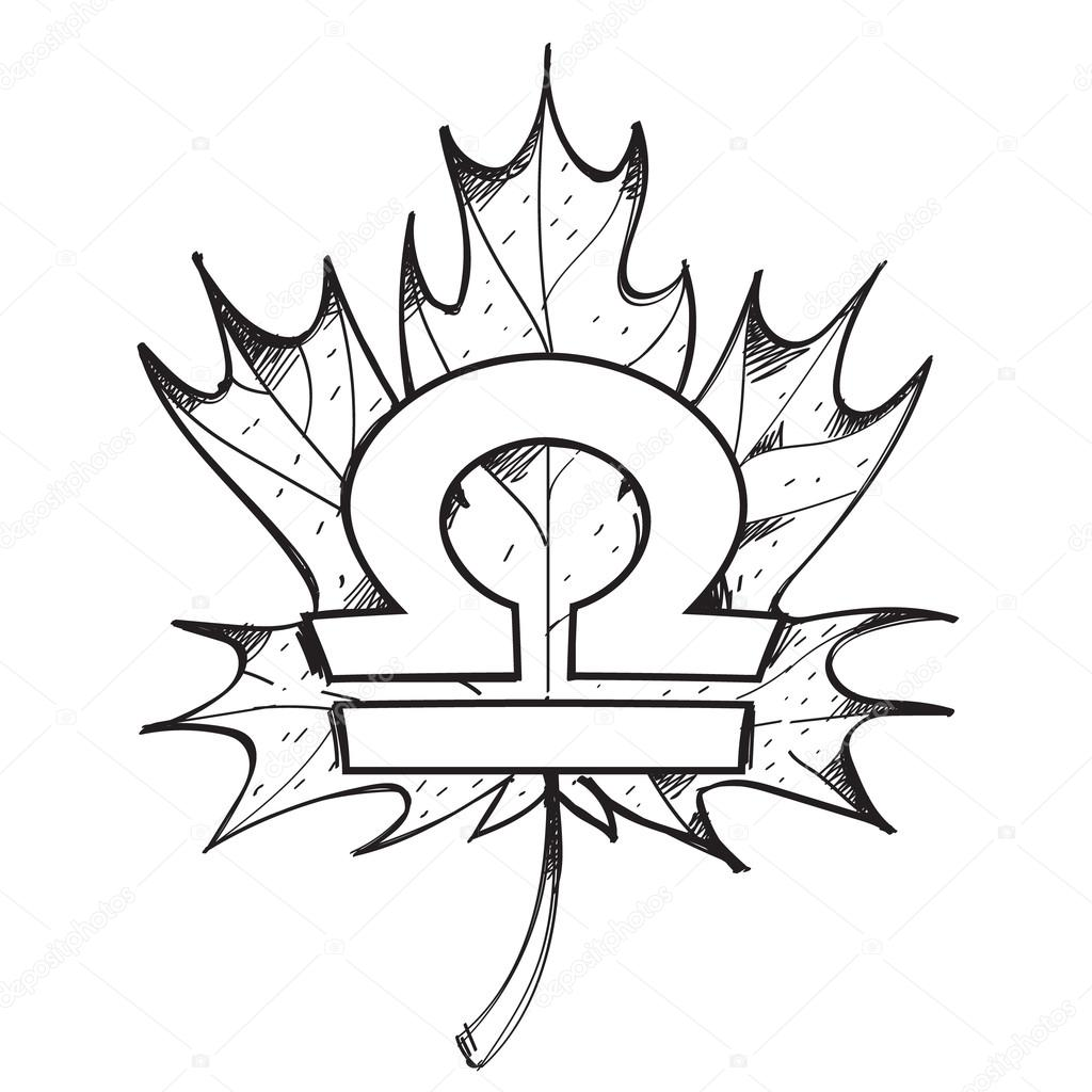 libra zodiac sign on a background of the maple leaf outline