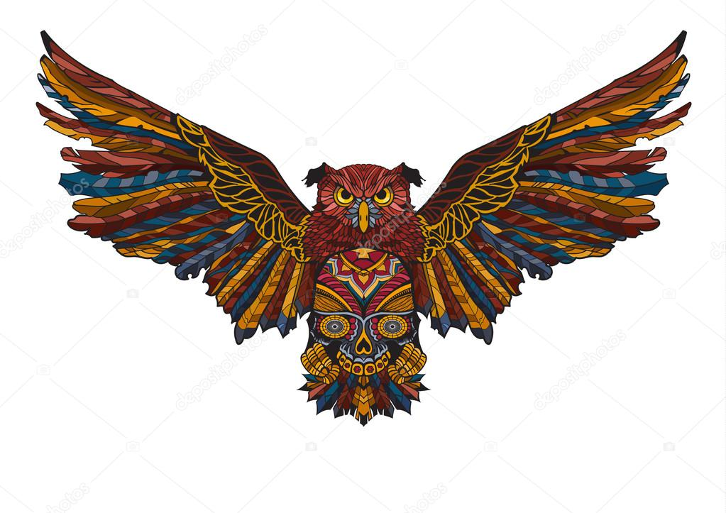 Owl With Spread Wings Holding A Skull In His Paws Colorful Illustration Sketch Of A Tattoo It Can Be Used To Design Clothes T Shirts Bags