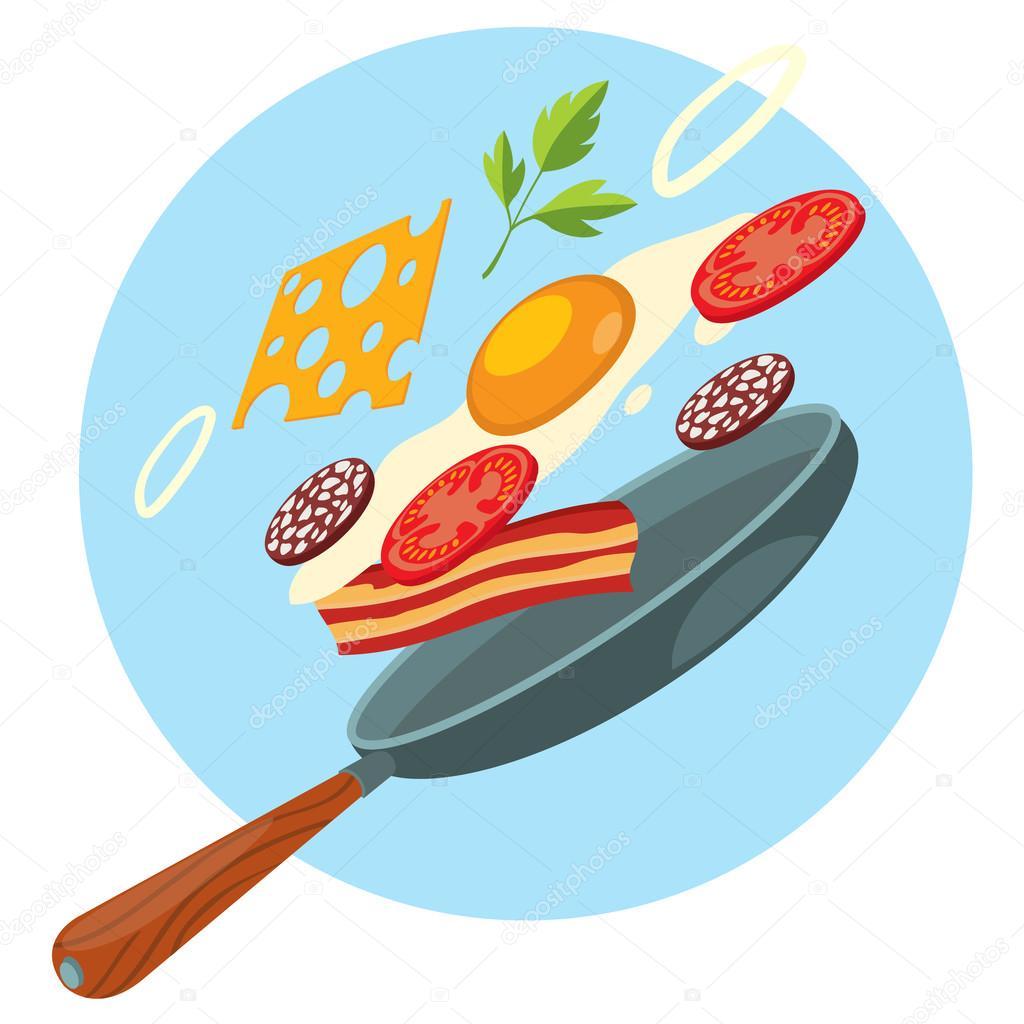 vers ontbijt koekenpan gebakken ei spek groenen en