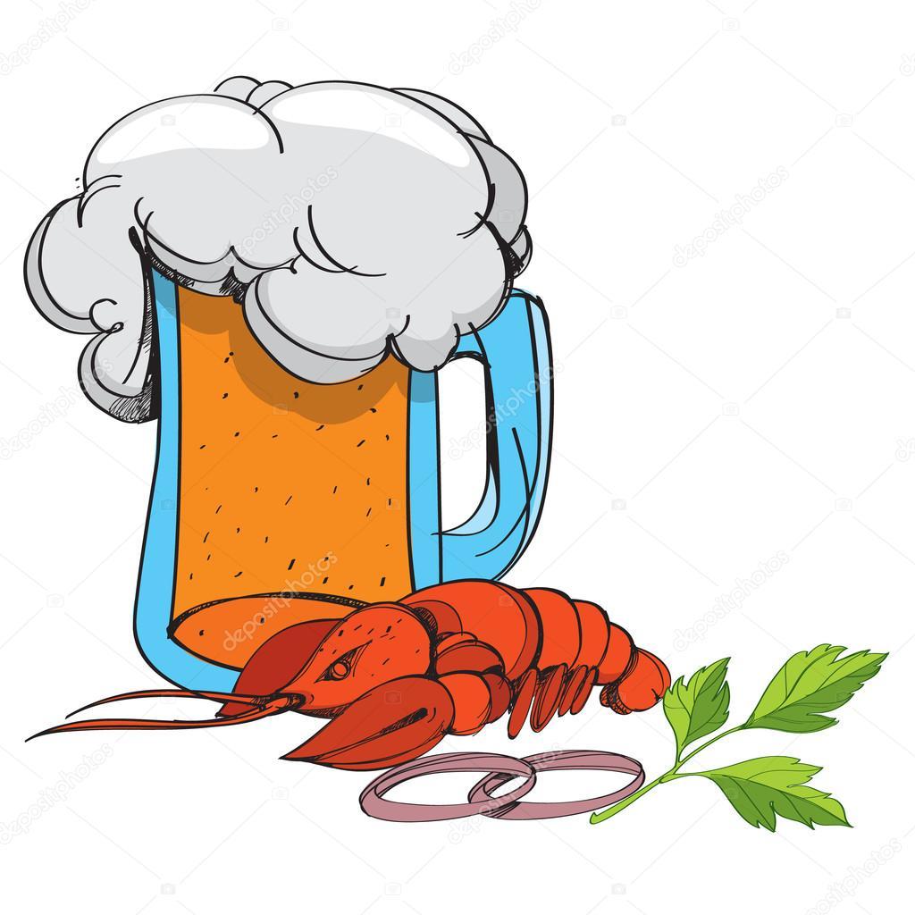 Preferenza Boccale di birra schiuma e cancro colore illustrazione nello stile  ZD22