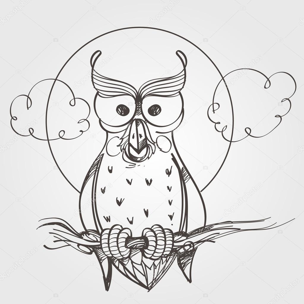 Desenhos Animados Coruja Esboço Esboço Vetores De Stock