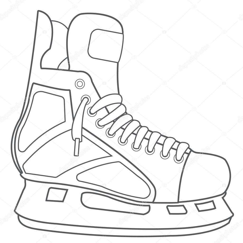 Patins Munitions De Hockey Dessin Noir Contour Blanc De Matériel