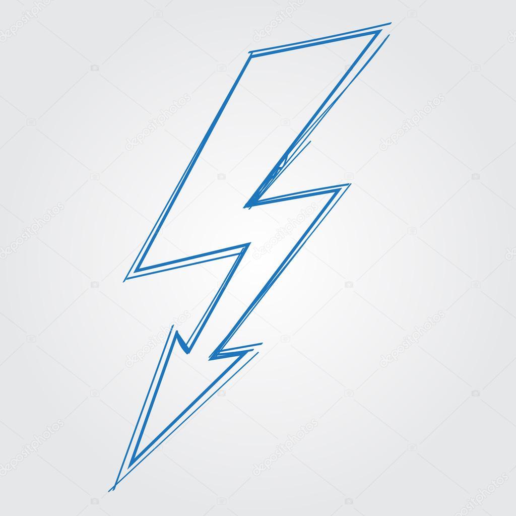 Blitz, die elektrische Ladung des Logos. Umriss zeichnen ...