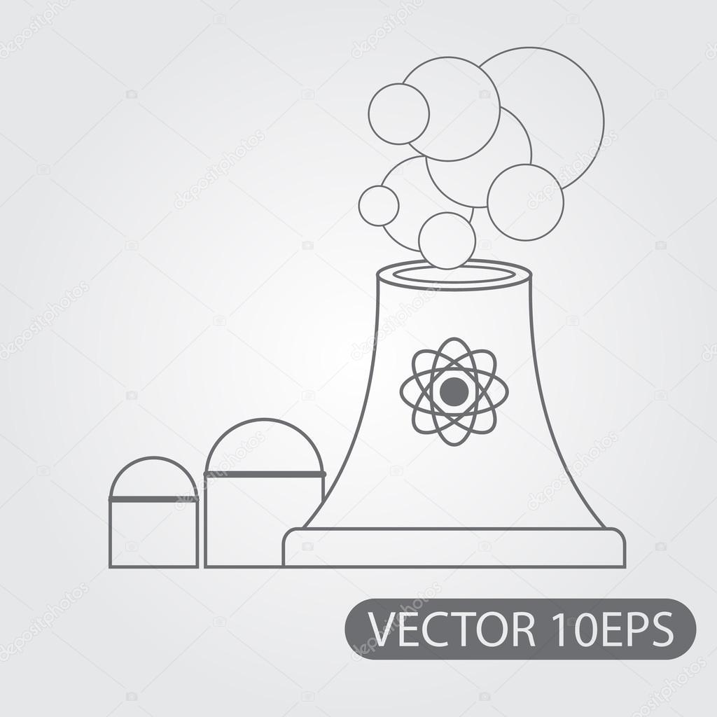 Dibujo De Blanco Y Negro Esquema De Planta De Energía Nuclear