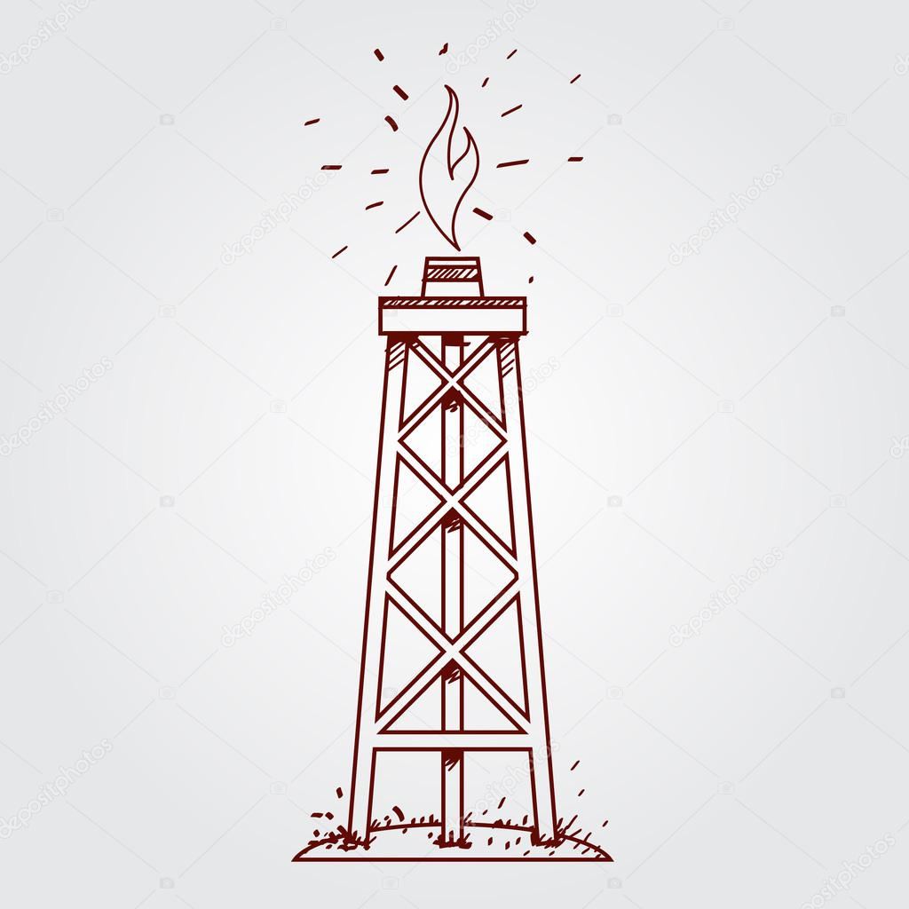 Drill rig drawing | Oil, gas rig logo  Outline drawing