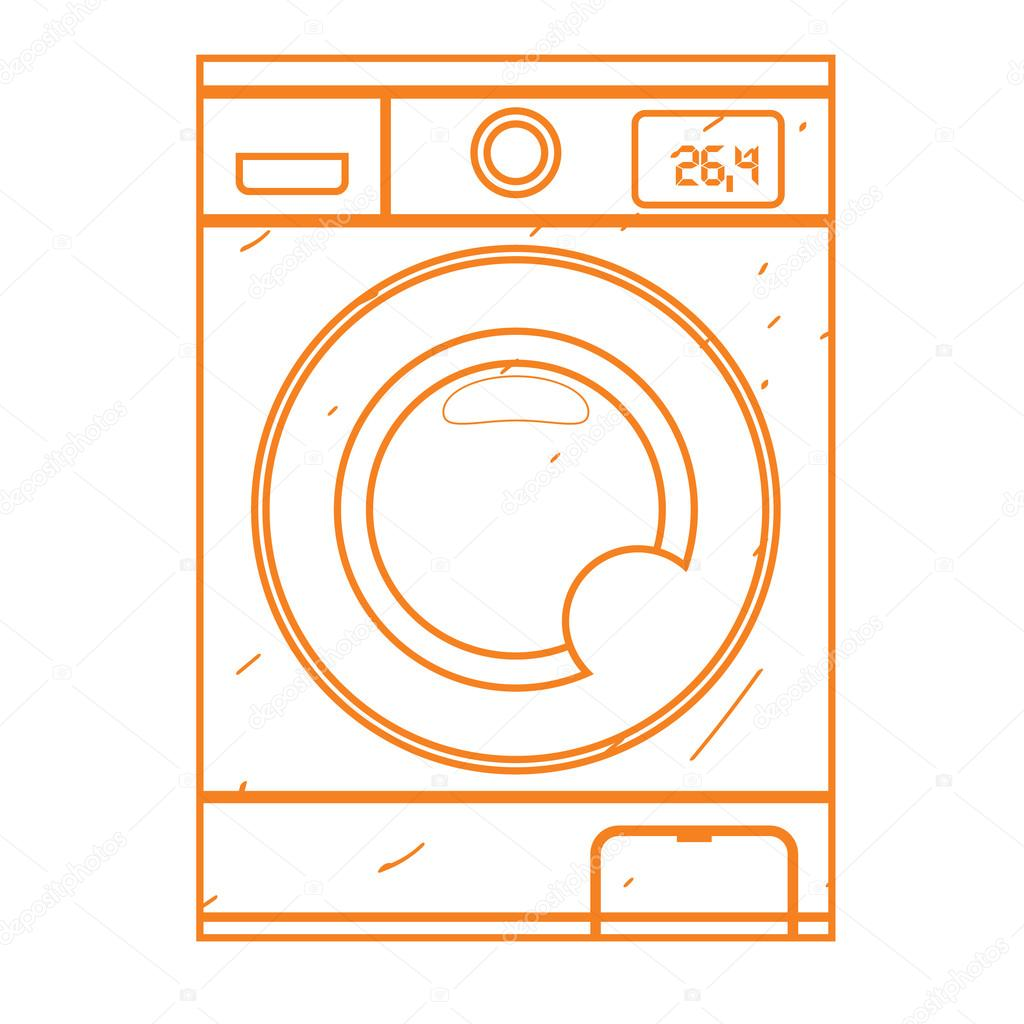 washing machine drawing. washing machine icon outline drawing. equipment for the home and service sector. \u2014 drawing