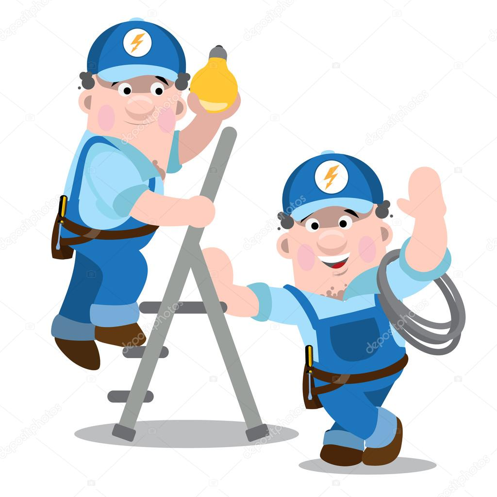 Dos hombres en uniforme de trabajo d luz electricistas for Trabajo de electricista en malaga