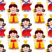Seamless pattern with cartoon queens.
