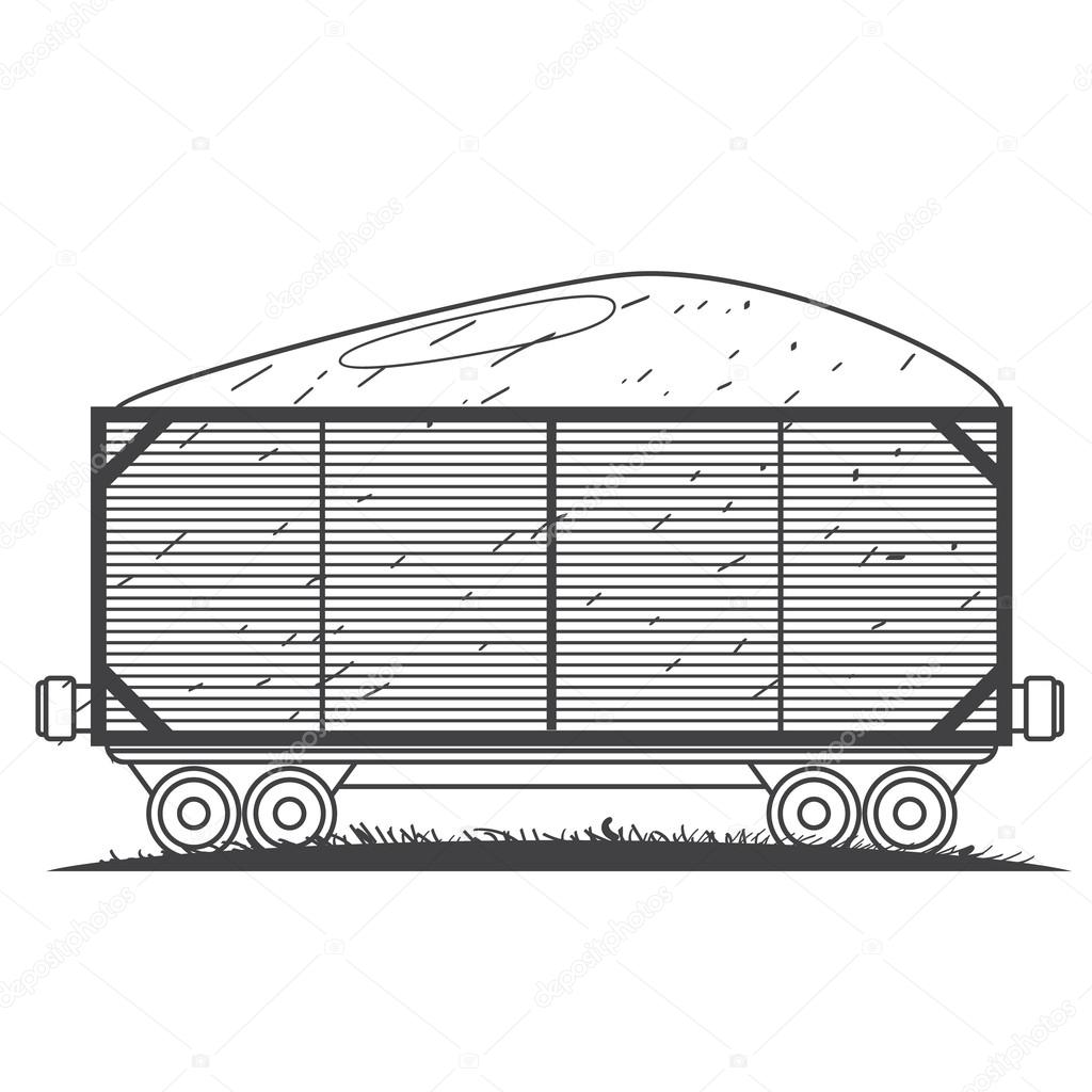 Freight Rail Wagon Loaded With Coal Outline Drawing Stock