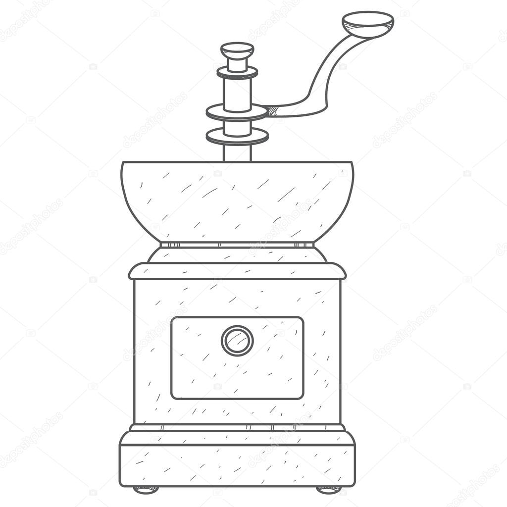 Coffee Grinder Drawing ~ Vintage manual coffee grinder outline drawing — stock