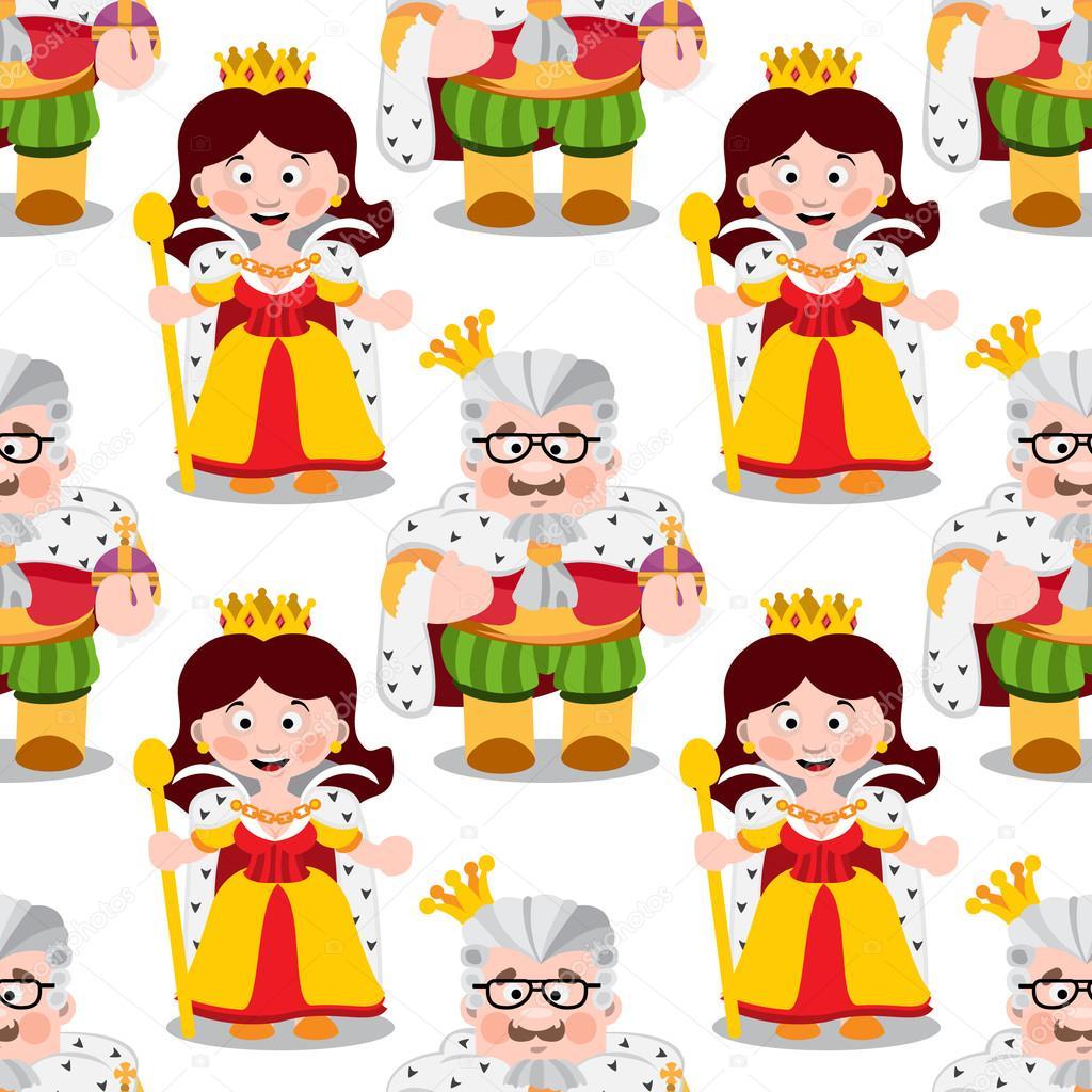 Reyes Y Reinas Animados Patrón Transparente Con Dibujos Animados