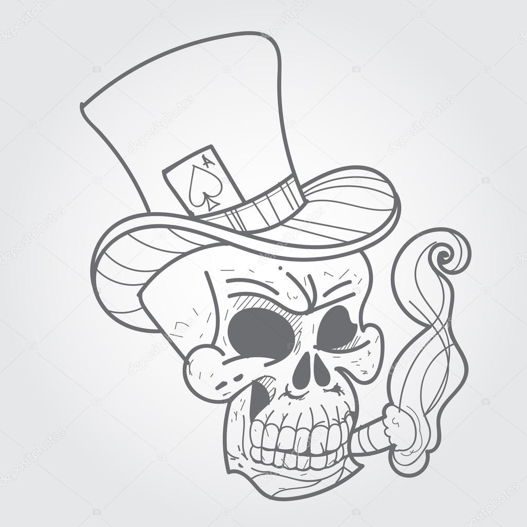 Czaszka Z Cygarem I Asa Pik Szkic Tatuaż Czarno Biały