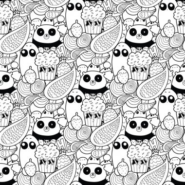 Doodles! Black and white high quality vector seamless pattern.