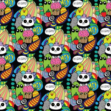 Doodles! Colorful high quality vector seamless pattern.