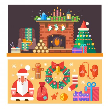 Christmas time. Interior of the house with a fireplace