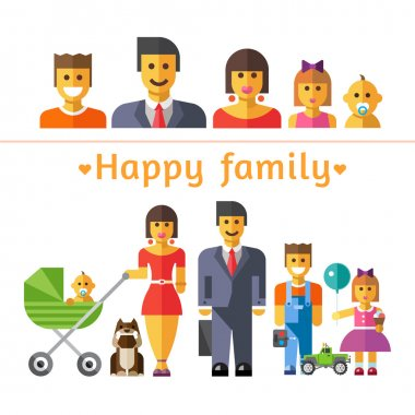 Icon set happy family. Parents and children