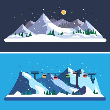 Ski Resort. Mountain landscapes. Vector flat illustrations stock vector