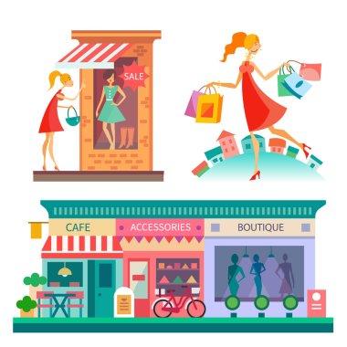 Shopping center, city scape