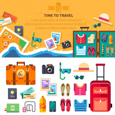 Time to travel, summer vacation, beach rest