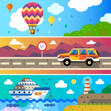 Travel by land, sea and air. Balloon, Jeep , Ship. Landscapes with mountains and sea. World of discovery. Vector flat  illustrations and background clip art vector