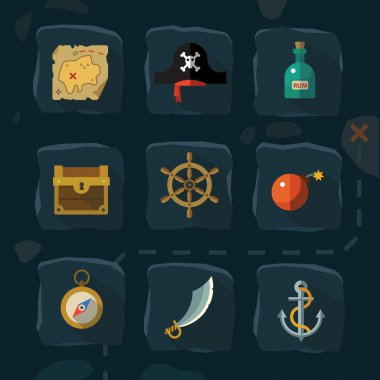 Vector color flat  icons set and illustrations pirate adventure: sea, cove, card, hat, rum, anchor, helm, bomb, sword, compass, chest,  gold stock vector