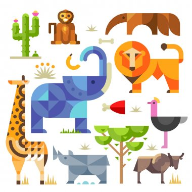 Geometric flat Africa animals and plants