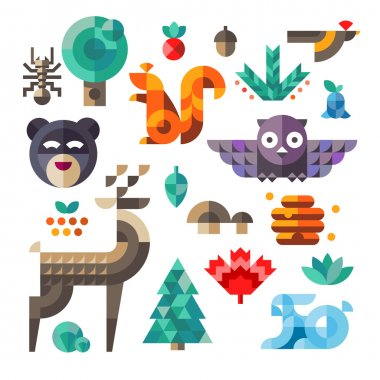 Forest icons, geometric proportions