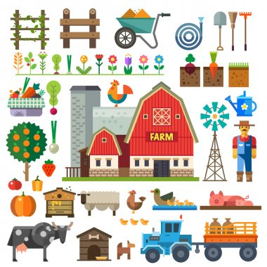 Farm in village. Elements for game