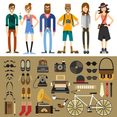 People characters. Fashion style.  Vector flat illustration