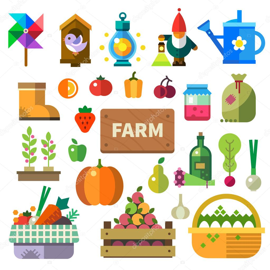 Farm in the village. Elements and sprites