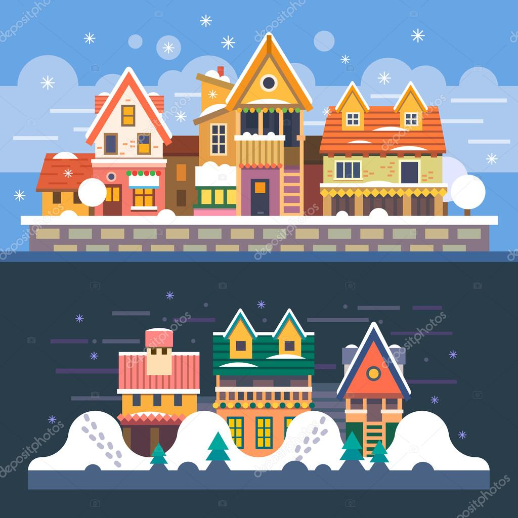 Winter houses. Day and night. Snowfall.